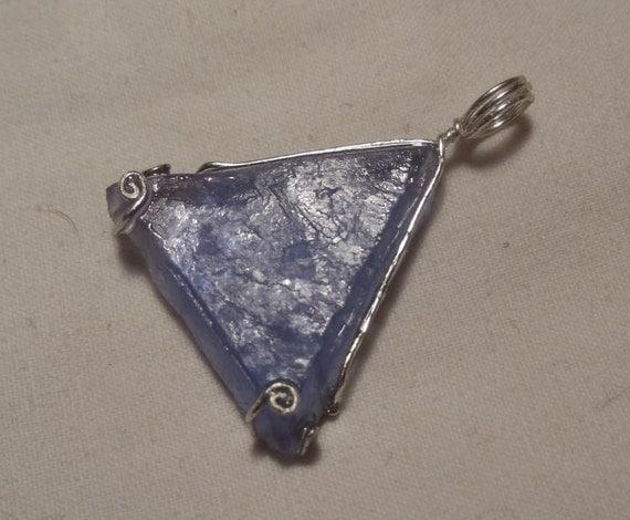 Blue Fluorite Triangle Pentant in Sterling