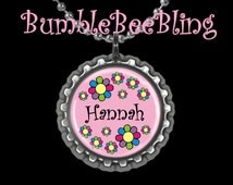 Kids Jewelry Personalized Flower Cutie Custom Pendant Necklace or Zipper Pull Your Choice of Color