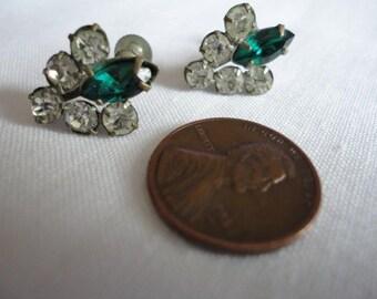 Emerald Green and Clear Rhinestone Screw Back Vintage Earrings