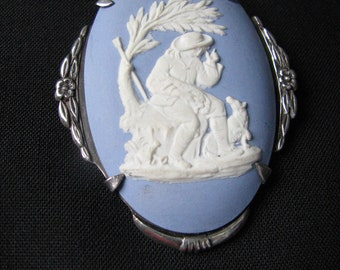 WEDGWOOD Blue Jasperware Oval Brooch   (1800's)