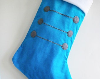 Nutcracker Soldier Modern Christmas Stocking - Peacock Blue Stocking - Personalized Christmas Stocking