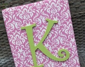 Wall Letters, 11x14, Pink Damask, Nursery Letters, Framed Monogram, Painted Letters, Wood Letters, Personalized, Monogram