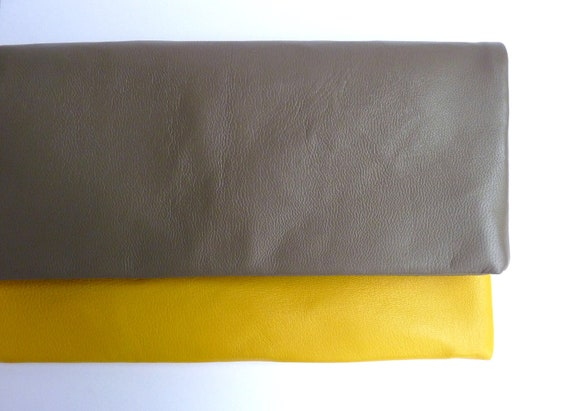 Two tone leather fold over clutch bag, in Earth and Lemon Yellow, small