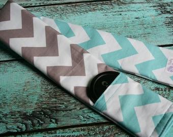 Reversible Camera Strap Cover with Lens Cap Pocket - Riley Blake Aqua and Gray Chevron - Designer Fabric