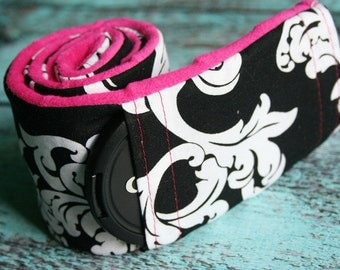 Camera Strap Cover with Lens Cap Pocket - Padded Minky - Photographer Gift - Black and White Damask with Fushia- MADE TO ORDER