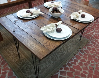 Reclaimed Wood Table with Hairpin Legs Vintage Industrial Style Wood Table Dining Table