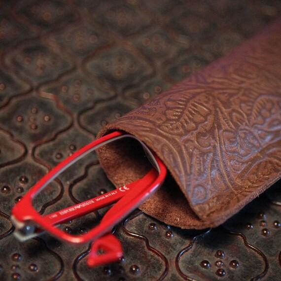 Leather Eyeglass Case Holder Glasses - Brown Floral Embossed