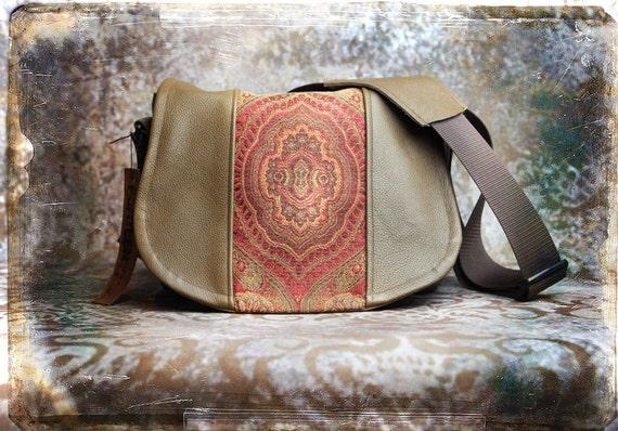 Leather Camera Bag Red Medallion -  Tapestry Medium DSLR - IN STOCK