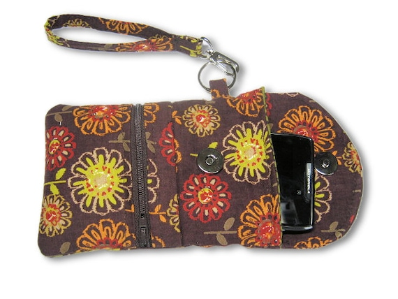 iPhone Cover, Floral iPhone Case, Zipper Pouch