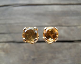 November Birthstone, Citrine Stud Earrings 14k Gold Filled, 4mm Yellow Post Earrings, Vintage Style, Fall Winter Fashion, Christmas Gift