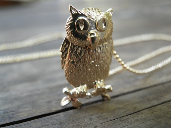 Valentines gift Owl Necklace Owl Jewelry Necklace, Halloween Necklace, Animal Necklaces, Gold Owl Pendant, Owl Charm Necklace, Gold Filled