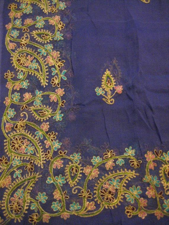 Antique Silk Shawl/Stole. Regency Style MUST SEE. Purple Silk Chiffon. Hand embroidered in gold metal threadwork.