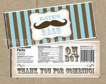 12 Vintage Inspired Mustache Bash Party Candy Bar Wrappers