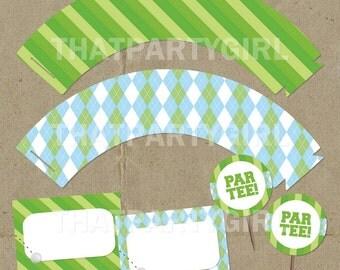 Golf PAR-TEE Party  Cup Cake Wrappers, Toppers & Food Labels - DIY digital U Print