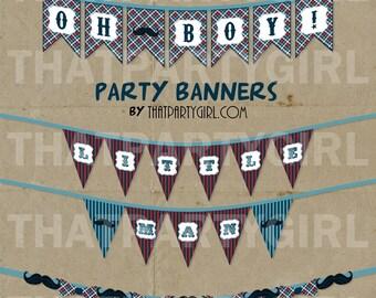 Little Man Birthday Party Banner - DIY digital U Print - Instant Download