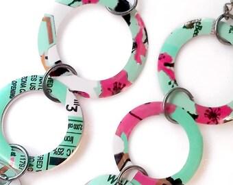 SALE Jewlry Hoop Earrings Teen Girl Jewelry Arizona Tea Teen Girl Gifts Recycled Tin Can Soda Can Dangle Circle Geometric Earrings E53