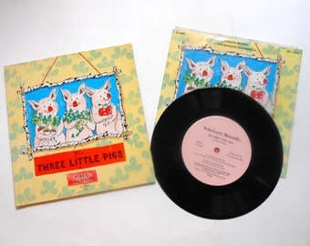 The Three Little Pigs, Vintage Book and Record