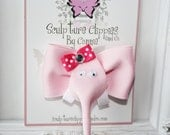 Pink Elephant Ribbon Sculpture Hair Bow.  Baby Pink Elephant Clip. Free Ship Promo