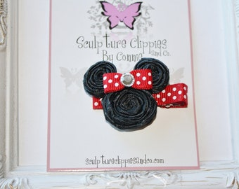 Red Inspired Solid Minnie Mouse Ribbon Sculpture Bows. Red Mouse Bow. Free Ship Promo