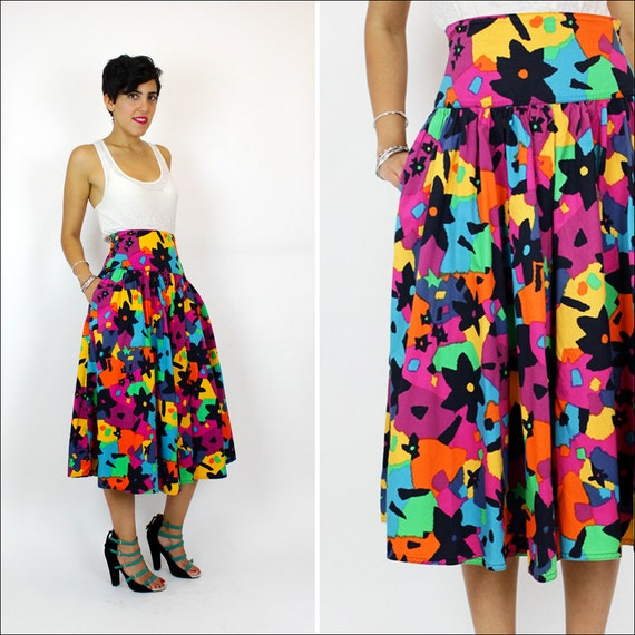 HOLD vintage Missoni bright floral pattern skirt M / cotton
