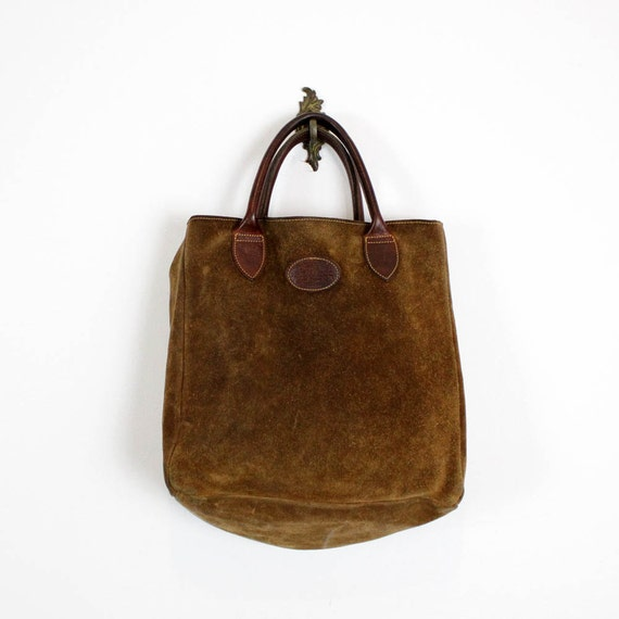 G.H. Bass suede tote / rustic brown leather handbag