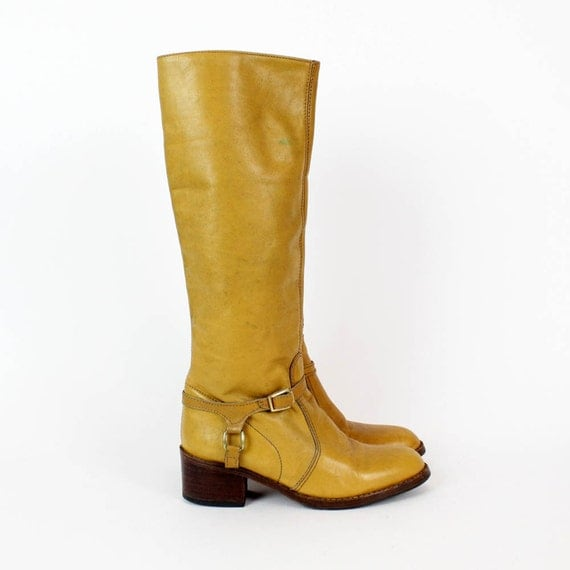 camel leather boots 7 / harness knee high equestrian boots / narrow