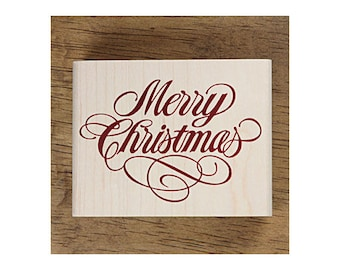 Christmas Rubber Stamp - Merry Christmas Message(L)