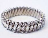 Vintage Rhinestone Stretch Bracelet - 1960s - Japan - Expansion bracelet