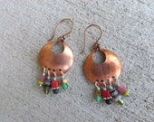 Artisan Earrings - Copper with Stone Charms