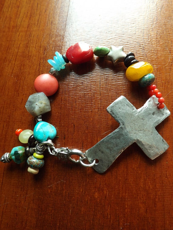 Artisan Bracelet with Rustic Pewter Cross