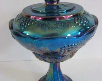 Vintage Blue Glass Pedestal Bowl