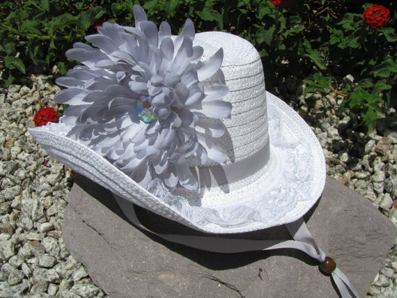 Cowgirl Hat -  White and Silver Grey - Girls Cowboy Hat - Girls Western Theme Birthday Party - Style CB53