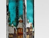 Lamp Candle Holder Hand Painted, Stained Glass Lamp, Christmas Night, Winter City