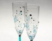 Toasting Flutes Hand Painted Aqua Turquoise Swarovski Designed Set of 2