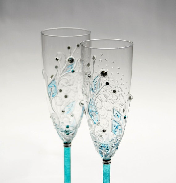 Toasting Flutes Hand Painted Aqua Turquoise Swarovski Designed Set of 2