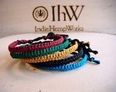 5 Indie Hemp Bracelets Anklets Teal Amber Forest Ruby Black Set Group Gift eco friendly organic fiber art designer jewelry hemp sale