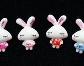 20 PCS. Bunny Rabbit Bow FlatBack Cabochons