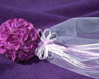 One Plum, Eggplant, Dark Purple Rose Flower Wand