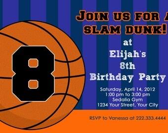 Basketball Birthday Invitation, You PRINT