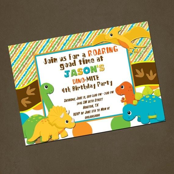 Dinosaurs Birthday Invitations, You PRINT, Printable