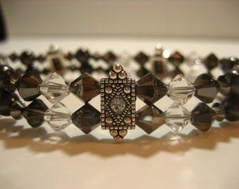 Silver Night -- Double Strand Swarovski Elements Bracelet, Gifts for Her, Bracelet for Her