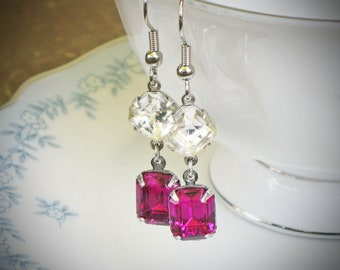 Old Hollywood Earrings - Double Stone - Asscher Cut - Emerald Cut - Two Stone - Fuchsia Pink - Bridesmaid Gift - Silver Earrings - Mom Gift