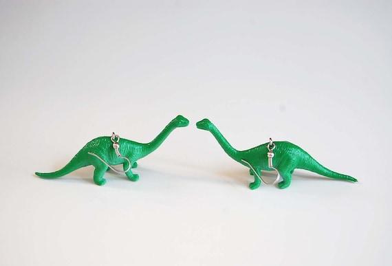 SALE - Long Necklace Dinosaur Earrings dinosaur jewelry brontosaurus stegosaurus