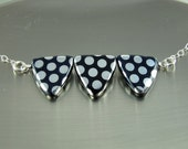 Black and Silver Necklace with Czech Glass Polka Dot Triangles, Shiny Finish, Sterling Silver Chain, Silver Filled Clasp