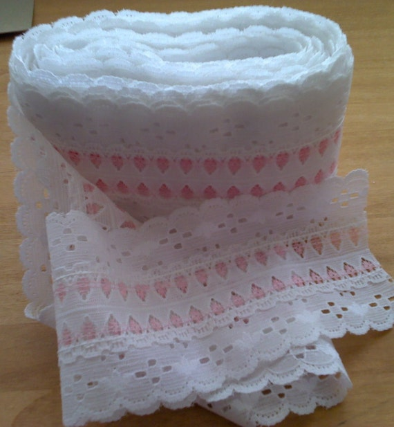 White and Pink Lace 5 Yards 3 1/2 Inch Wide L0415