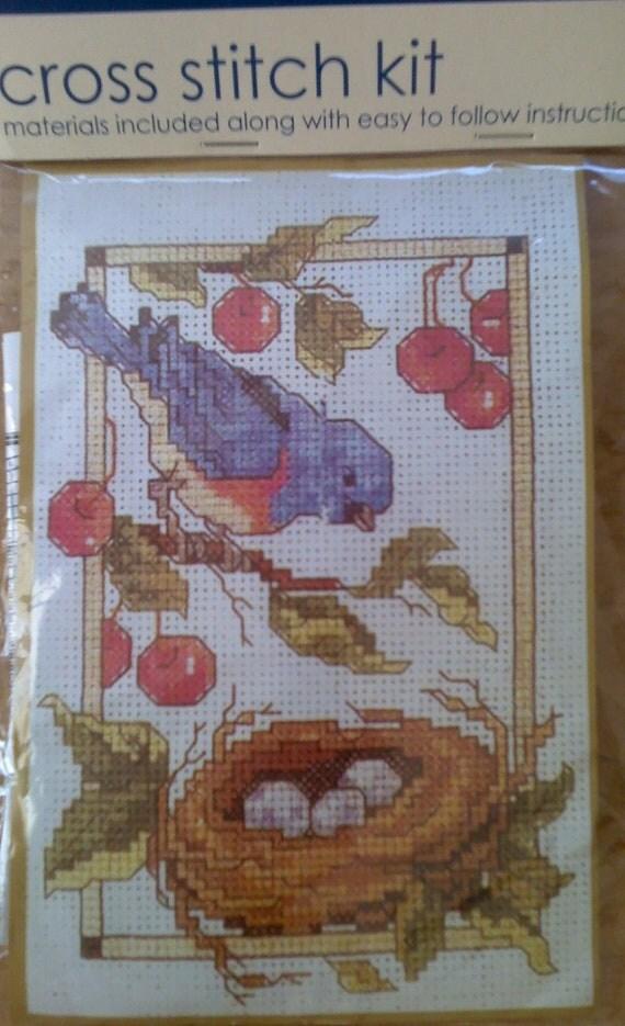 Bluebird and Nest Cross Stitch Kit