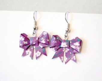 Origami bow earrings, made with purple with white flowers origami washi paper