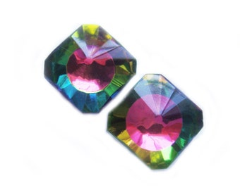 Rainbow Color Changing Square Octagon Vintage Crystal Earrings - Pierced Or Magnetic Earrings