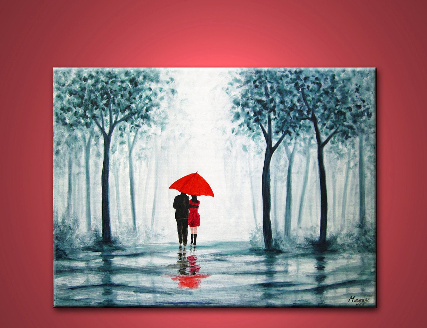 Wedding Gift Canvas Painting : original abstract painting walking in rain blue white