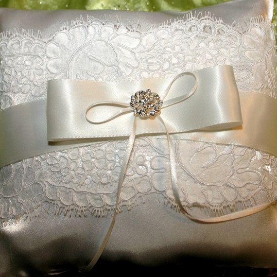 White alencon lace wedding ring pillow. Ring pillow Bridal accessories. Wedding gift. Bridal shower gift.